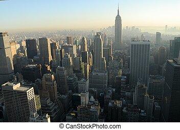 ville, aérien, sur, midtown, york, nouveau, manhattan, vue