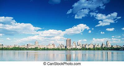 ville, bâtiments, central, sur, parc, lac, york, nouveau, manhattan