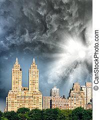 ville, bâtiments, parc central, york, nouveau, manhattan, long