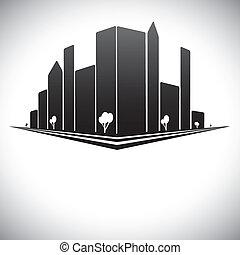 ville, bâtiments, rues, grand, nuances, noir, arbres, en ville, gris, blanc, &, tours, gratte-ciel, moderne, w, horizon, b