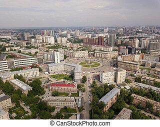 ville, bâtiments, vieux, détourné, russe, nouveau, vue aérienne