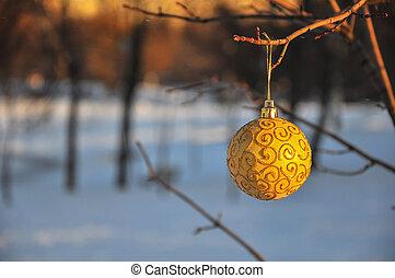ville, balle, or, brillant, arbre, parc, branche, noël
