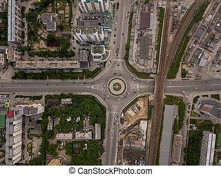 ville, carrée, aérien, élevé, détourné, position, vue