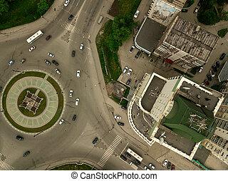 ville, carrée, aérien, détourné, vue