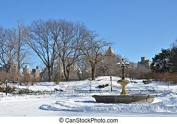 ville, central, alley., parc, york, nouveau