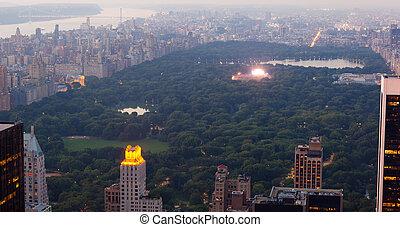 ville, central, concert, parc, york, nouveau, musical, vue