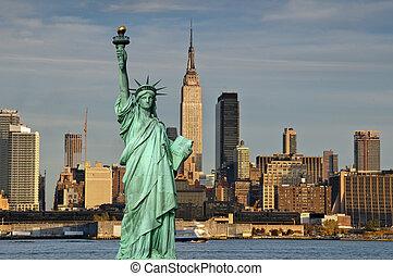 ville, concept, liberté, york, statue, nouveau, tourisme