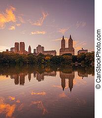 ville, coucher soleil, manhattan, nouveau, lac, parc, york, central