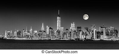ville, en ville, horizon, york, nouveau, manhattan