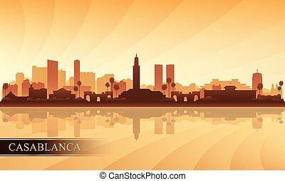 ville, fond, casablanca, silhouette horizon
