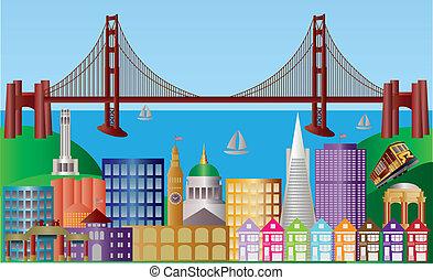 ville, francisco, san, panorama, illustration, horizon