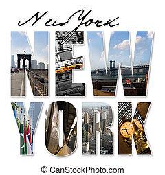 ville, graphique, montage, york, nouveau, nyc