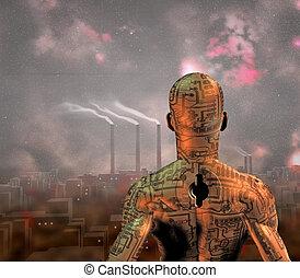 ville, grime, robot, avant