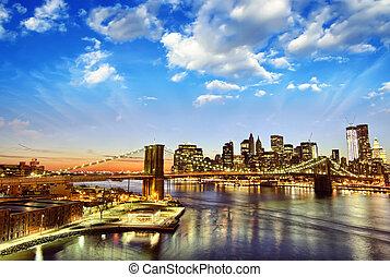 ville, hiver, -, horizon, coucher soleil, york, nouveau, manhattan