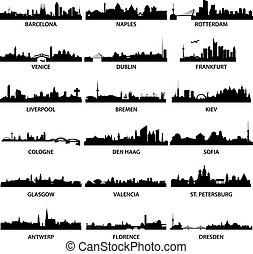 ville, horizons, européen