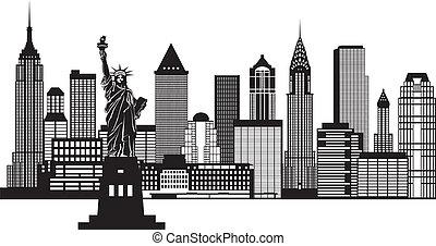 ville, illustration, horizon, noir, york, nouveau, blanc
