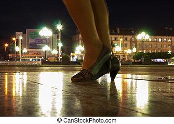 ville, jambes, carrée, femme