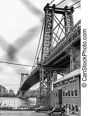 ville, manhattan, york, pont, nouveau
