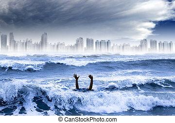 ville, noyade, concept., global, eau, détruit, temps, orage, extrême, chauffage, homme