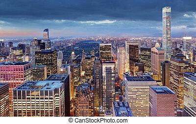 ville, nuit, york, usa, nouveau
