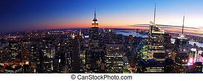 ville, panorama, coucher soleil, york, nouveau, manhattan