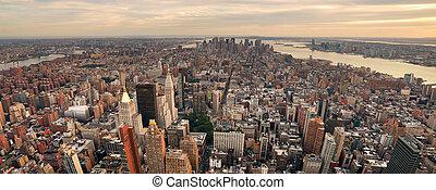 ville, panorama, horizon, coucher soleil, york, nouveau, manhattan