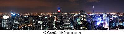 ville, panorama, horizon, york, nouveau, manhattan