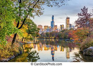 ville, parc central, automne, york, nouveau, pendant