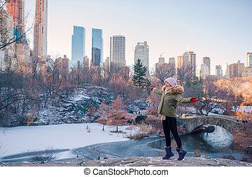 ville, parc central, york, nouveau, girl, adorable