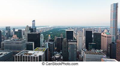 ville, parc central, york, nouveau, vue aérienne