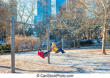 ville, peu, central, filles, parc, york, amusement, nouveau, adorable, avoir