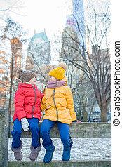 ville, peu, central, filles, parc, york, nouveau, adorable