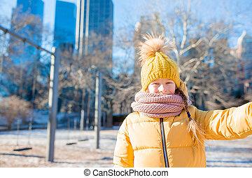 ville, peu, central, photo, selfie, parc, york, nouveau, girl, adorable, prendre