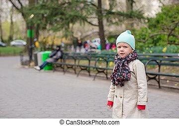 ville, peu, parc central, york, nouveau, girl, adorable