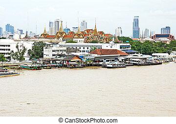 ville, phraya, aérien, chao, bangkok, rivière, vue
