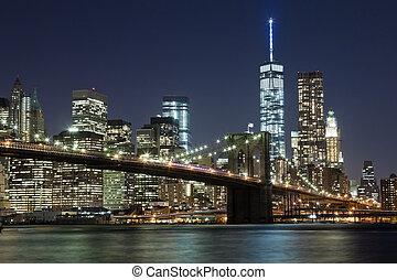 ville, pont, horizon, brooklyn, york, w, nouveau