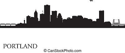 ville, portland, silhouette, horizon, fond
