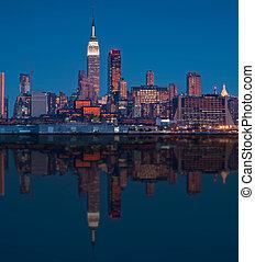ville, scénique, sur, hudson, horizon, york, nouveau, rivière
