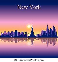 ville, silhouette, horizon, york, fond, nouveau