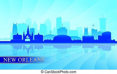 ville, silhouette, orléans, horizon, fond, nouveau