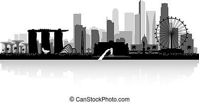 ville, silhouette, singapour, horizon