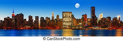 ville, soir, panorama, tard, horizon, york, nouveau