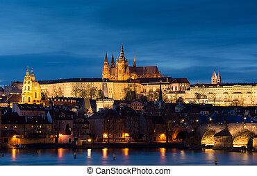 ville, tchèque, image, prague., prague, panoramique, republi, capital