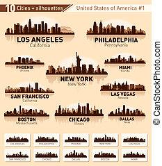 ville, usa, 10, set., horizon, #1, villes