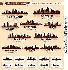 ville, usa, 10, set., horizon, #2, villes