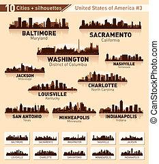 ville, usa, 10, set., horizon, #3, villes