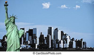ville, usa, nyc, en ville, york, nouveau, horizon