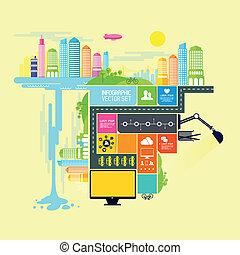 ville, ville, vecteur, illustration