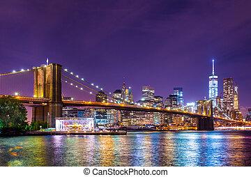 ville, york, brooklyn, nouveau, pont