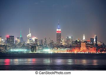 ville, york, manhattan, nouveau, nuit
